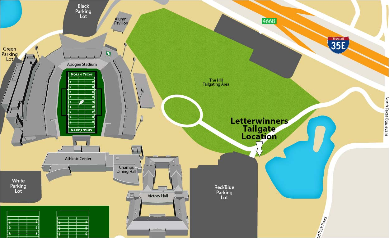North Texas Letterwinners tailgate location